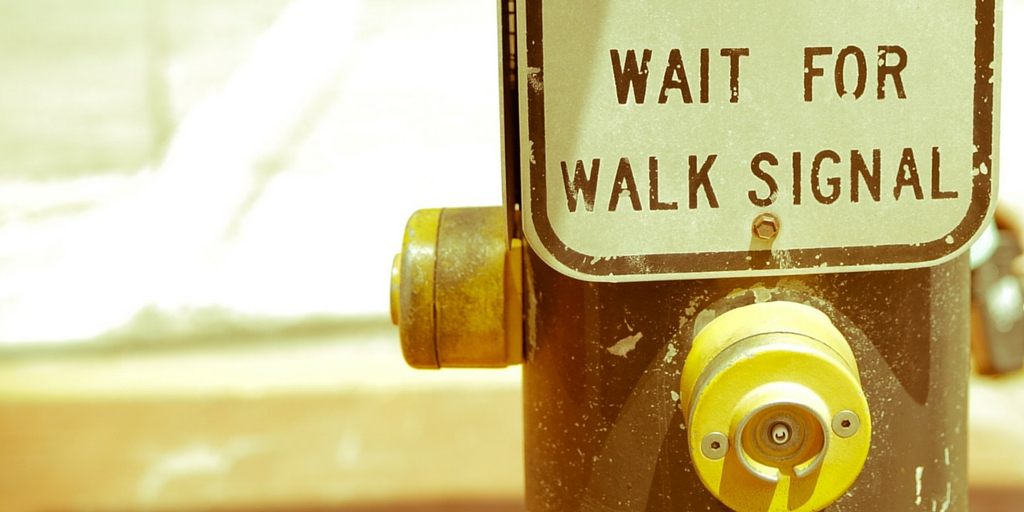 wait for walk signal sign