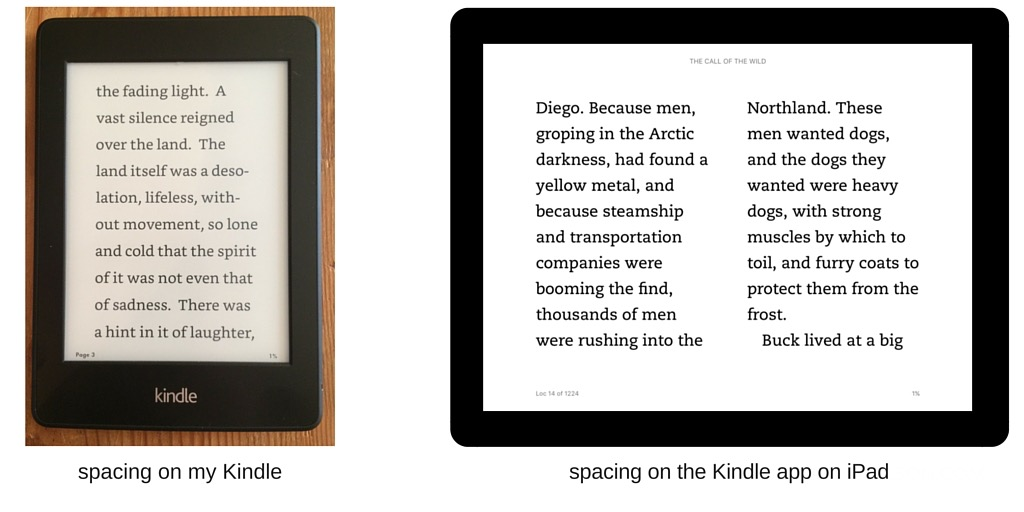 spacing settings on my Kindle screen and app